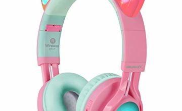 Bluetooth Headphones, Riwbox CT-7 Cat Ear LED Light Up Wireless Foldable Headphones Over Ear with Microphone and Volume Control for iPhone/iPad/Smartphones/Laptop/PC/TV
