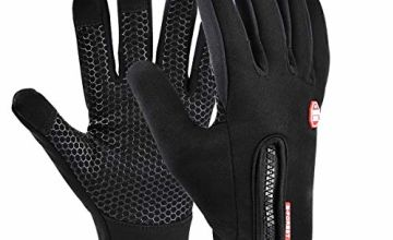 Cycling Gloves, Funnasting Winter Autumn Adjustable Waterproof Touchscreen Gloves Windproof Thermal Gloves Altura Gloves with Non-Slip Full Finger for Cycling, Driving, Running, Fishing
