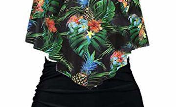 Aidotop Swimsuit for Women Top Ruffled High Waist Swimwear Two Pieces Bathing Suits Bikini Sets