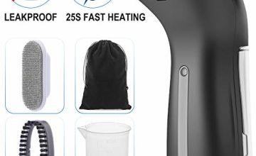 Firbon Clothes Steamer Handheld Portable Garment Steamer Iron for Home and Travel 360°Leak Proof Design Vertical & Horizontal Ironing with 4 Extra Accessories, 25s Fast Heat-up