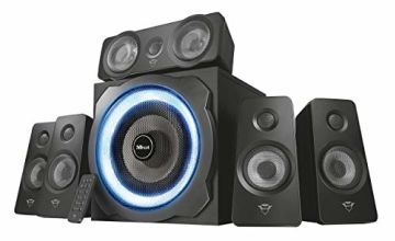 Save on Trust Gaming GXT 658 Tytan 5.1 Surround Sound Speaker System, PC Speakers with Subwoofer, UK Plug, LED Illuminated, 180 W - Black/Blue and more