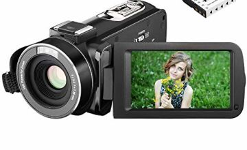 Video Camera Camcorder Kenuo 1080P 24MP Full HD Digital Camera Video Recording 3.0 Inch LCD Stabilization 270 Degree Rotation Screen 16X Digital Zoom Camera Recorder With 2 Rechargeable Batteries