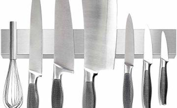 Magnetic Knife Holder, Homemaxs 40cm Stainless Steel Magnetic Knife Rack for Steak/Chef/Carving Knives Kitchen and Bar, Secure & Easy Storage Kitchen Knife Holder