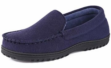 Cozy Niche Men's Moccasin Slippers, Anti-Slip House Shoes, Indoor Outdoor Rubber Sole Loafers Navy Blue 11 UK