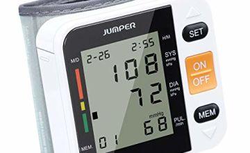 JUMPER Wrist Blood Pressure Monitor for Home, Automatically Measure Blood Pressure Monitor with Heart Rate Pulse, Large Digital LCD Screen Display, 90 Memory Capacity