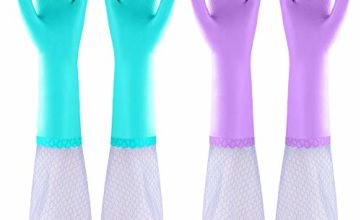Elgood Deluxe washing up gloves with latex free,cotton lining,Vinyl cleaning gloves 2 Pairs