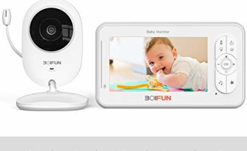 Baby Monitor with Camera, BOIFUN 4.3'' HD Screen 1200mAh Rechargeable Battery with 2.4 Ghz Wireless Stable Connection VOX Night Vision Temperature Monitor Two-Way Talk Baby/Elder/Pet