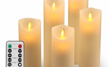 "LED Candles Flameless Candles :H(5.5"" 6"" 6.5""7""8"") Realistic Dancing Mood Candles and 10 Key Remote Control with 24 Hour Timer Function Gift Decoration Party(Ivory)"