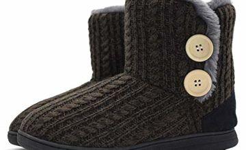 KuaiLu Womens Slippers Fluffy Faux Fur Lined Winter Warm Slipper Boots Cozy Memory Foam Indoor House Slippers