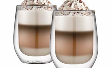 Double Walled Latte Glasses, Ehugos Set of 2 Coffee Cups Insulated Thermo Glass Set for Coffee, Tea, Espresso, Cappuccino, Latte, Beer