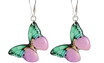 Romantic Pink and Light Green Earrings Presents for Daughter; Feminine Lilac Dangle Jewellery for Sweet 16; Butterfly Shape -1.4inch -3.5cm