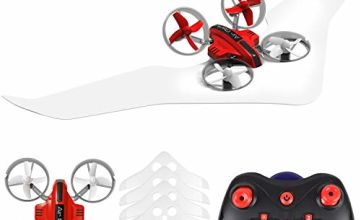 Supkiir Gliding Drone, Land and air Remote Control Quadcopter for Adult, Portable Mini Helicopter for Beginner with Drone, Glider, Landship Control Mode, 3D Flip, Headless Mode