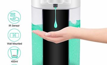 WIFORT Automatic Soap Dispenser 400ml IPX7 Waterproof, Wall Mounted Touchless Auto Soap Dispenser with Infrared Motion Sensor, Suitable for Kitchen Bathroom Hotel Restaurants
