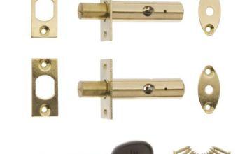 ERA Door Security Bolt with 1 Key - Brass (2 Pieces)