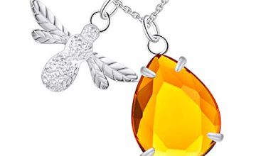 FJ Bumble Bee Necklace with Honey, Crystal Amber Pendant, S9