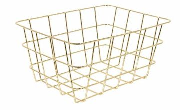 THE HOME DECO FACTORY KA2796 Wire Basket, Metal, Gold, One Size