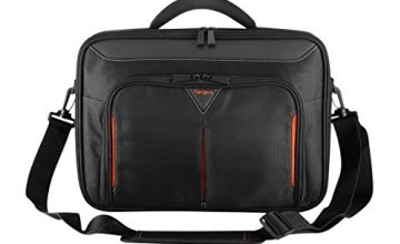 Targus Classic Clamshell Premium Protective Laptop Bag with Handles specifically designed to fit up to 14-Inch, Black/Red (CN414EU)