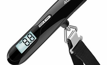 Electronic Luggage Scale, 4UMOR Portable Digital Suitcase Hanging Scales with Tare Function Weighing Scale with Backlit Display for Travel/Outdoor/Home Use, 110 lb/ 50 KG Capacity Black