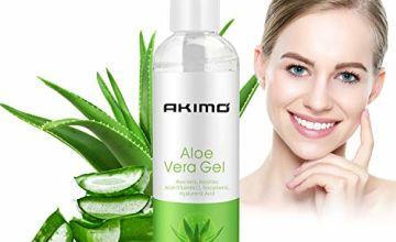 Aloe Vera Gel with Hyaluronic Acid, AKIMO Pure Aloe Vera Soothing Gel 100% Natural for Face, Body, Hair, Facial Moisturizer, After Sun Body Moisturisers - Care for Sunburn, 250ml / 8.8 fl oz