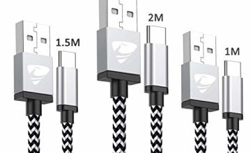 USB C Cable,3Pack(1m+1.5m+2m) Type C Cable Fast Charging Cable Nylon Braided Charger Cables for Samsung A40 A50 A70, Samsung S9 S8 S10 Nintendo Switch,Huawei P9 P20 P30, HTC 10/U11,Pixel 2xl and More