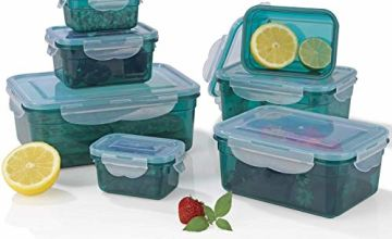 GOURMETmaxx Practical Storage Containers, Green-7 Pieces, Emerald, 22.5x16x8.5 cm
