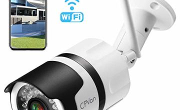 [Updated Version] CPVAN CamHi APP 1080P Outdoor Security Camera,IP66 Waterproof WiFi CCTV Camera,Wireless IP Camera System with 82ft Night Vision,Two Way Audio,Motion Detection,Ideal for Home/Office