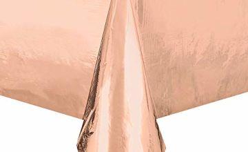 Unique Party 53273 - Foil Rose Gold Plastic Tablecloth, 9ft x 4.5ft