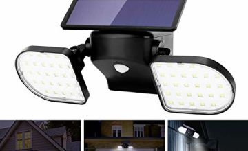 OUSFOT Outdoor Lights Solar Powered 56 LED Solar Lights Motion Sensor Double Heads Security Light Adjustable Spotlight Waterproof for Garage Garden Driveway Front Door Wall