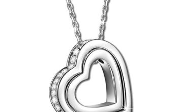 Kami Idea Necklace, Gift for Mum, I Love You Forever, 925 Sterling Silver, Heart Pendant, 3A Cubic Zirconia, Jewellery Box