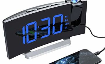 Mpow Projection Alarm Clock with 5-inch LED Curved Screen, Adjustable Brightness for Screen and Projection, 4 Alarm Sounds, 9-Minute Snooze Function, Sleep Timer and FM Radio