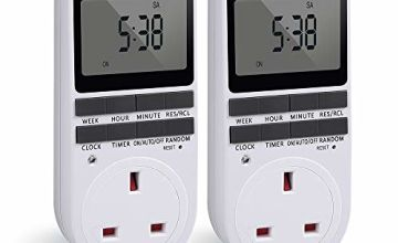 Timer Plug Socket, Innoo Tech Digital Security Plug Programmable Timer Socket with LCD Display for Lights, 24 Hours/ 7 Days Lamp Timer Plug Switch (White, 2 Pack)