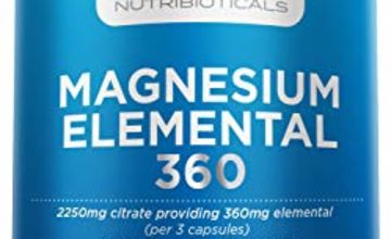 New Pure Magnesium Citrate 2250 Milligram Providing 360 Milligram Elemental | 96 Percent RDA | 180 Capsules