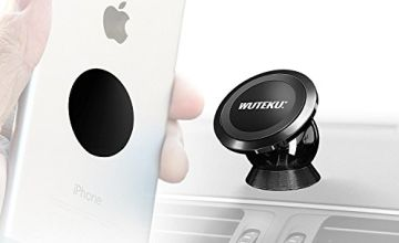 WUTEKU Magnetic Mobile Phone Holder Kit For Car - Best UltraSlim Dashboard Mount - Compatible with iPhone XR XS X 8 7 and Galaxy S9 S8 by Pro Driver - Stealth Edition