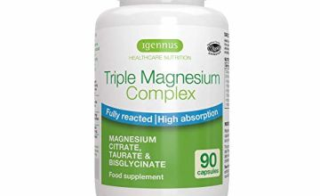 Triple Magnesium Complex, Magnesium Bisglycinate, Taurate & Citrate, Fully reacted, Vegan, 90 Capsules