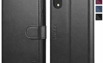 TUCCH iPhone XR Case, iPhone XR Wallet Case[RFID Blocking][Wireless Charging][TPU Shell][Viewing Stand][Card Slots][Magnetic Closure] Leather Flip Case Compatible with iPhone XR (6.1 inches), Black