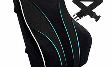 Tusscle Lumbar Support Cushion, Back and Lumbar Support for Office Chair, Memory Foam Lower Back Tire Comfort Back and Lumbar for Office Chair, Car Seat, Wheelchair and Recliner, Black
