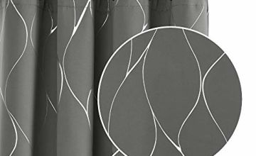 Deconovo Wave Foil Printed Eyelet Blackout Curtains