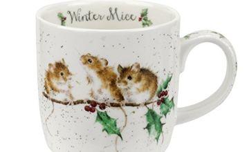 Portmeirion Home & Gifts Wrendale Winter (Mice) Single Mug, Bone China, Multi Coloured, 12 x 8.4 x 8 cm