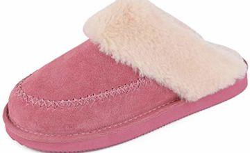 LongBay Ladies' Slippers Genuine Suede Fluffy Mule Cosy Plus