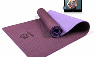 FitBeast Yoga Mat, 6mm Thick Non-Slip Exercise Yoga Mat, TPE Eco-Friendly Fitness Mat with Carrying Strap-Workout Mat for Yoga, Pilates and Gymnastics 183 x 61 x 0.6CM, Compact Lightweight for Home Gym Workout, Travel, Women and Men