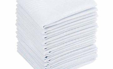 15PCS Mens White Cotton Handkerchiefs High Quality Large Pocket Squares Hankies for Men