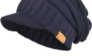 Mens Womens Thick Fleece Lined Knit Newsboy Cap Slouch Beanie with Visor (Pale/Grey)