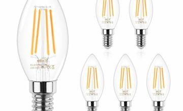 Veelicht E14 LED Filament Candelabra Bulbs,4W,Equivalent 40W
