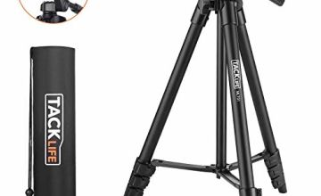 """TACKLIFE Lightweight Tripod 140cm (55""""), Aluminum Travel/Camera/Phone Tripod with Carry Bag, Maximum Load Capacity 3kg, 1/4"""" Mounting Screw for Phone, Camera, Traveling, Laser Measure - MLT01"""