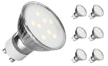GU10 LED Daylight White, Ascher 10 Pack GU10 4W LED Light Bulbs [ Daylight White 6000K, Equivalent to 50W Halogen Bulbs, 400LM, AC 220-240V, 120° Beam Angle] GU10 Recessed Lighting, Track Lighting