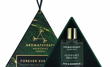 Aromatherapy Associates Forever Evergreen Hanging Decoration Gift featuring our 100% natural, handblended, fragrant essential oil, Support Breathe Bath & Shower Oil 9ml