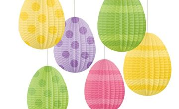 amscan 242060 Hanging Pleated Paper Decoration Mini Egg-Shape-10cm h-1 Pc