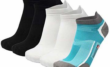 DANISH ENDURANCE Low-Cut Pro Ankle Running Socks 5 Pack, for Men & Women, Anti-Blister, Athletic