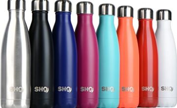 SHO Bottle - Ultimate Insulated, Double Walled Stainless Steel Vacuum Flask & Water Bottle - 12 Hours Hot & 24 Hours Cold - 260ml, 350ml, 500ml, 750ml & 1000ml - BPA Free - Lifetime Guarantee