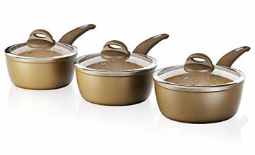 Save on Tower Saucepan Set, Cerastone, Forged Aluminium with Easy Clean Non-Stick Ceramic Coating, Gold, 3 Piece and more